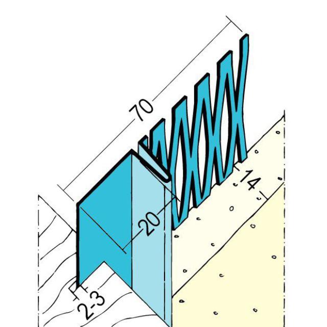 Anschlussprofil mit Schattenfuge für den Innenputz 1301