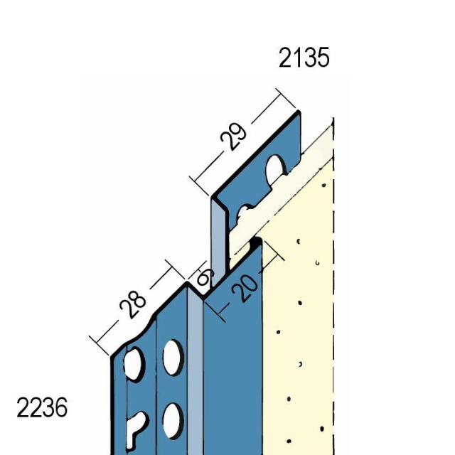 Dehnungsfugenprofil für den Innen- und Außenputz 2236