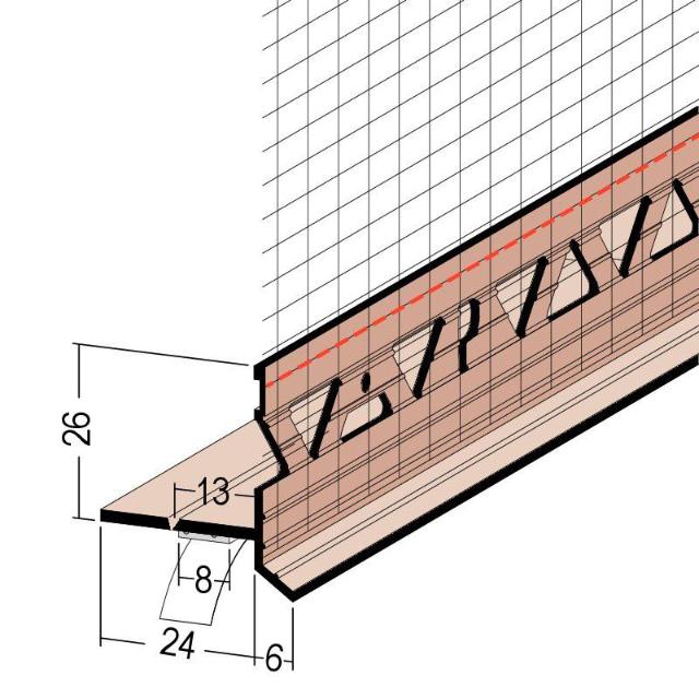 Einschubprofil an Rollladen/Raffstorekasten mit Gewebe 37428
