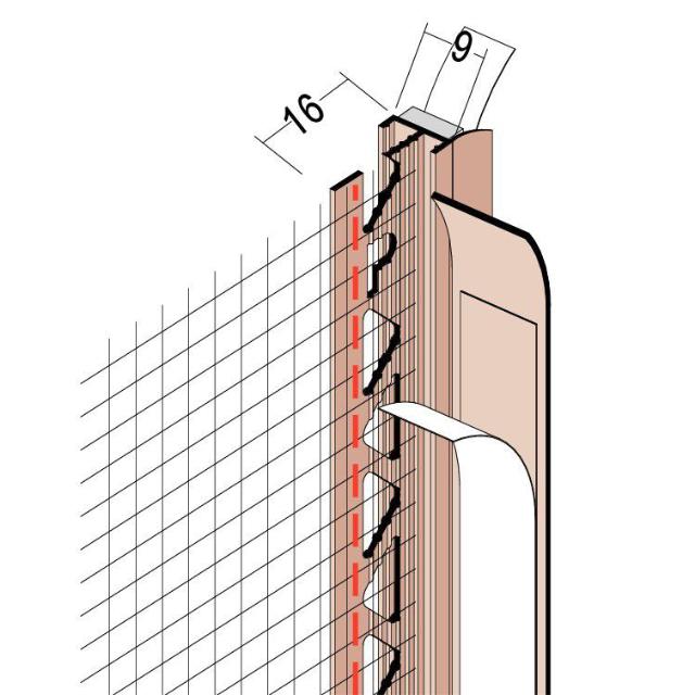 Anputzdichtleiste mit Schutzlippe, Gewebe für WDV-Systeme 37909