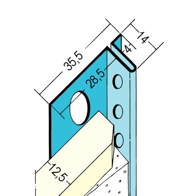 Anschlussprofil mit Schattenfuge für den Trockenbau 1371