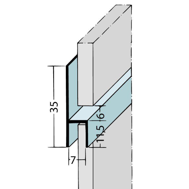 Fugen-h-Profil horizontal Alu EV1 9086