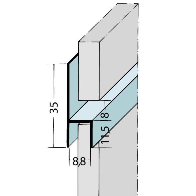 Fugen-h-Profil horizontal Alu EV1 9087
