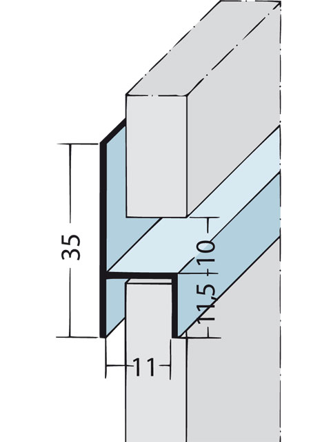 Fugen-h-Profil horizontal Alu EV1 9088