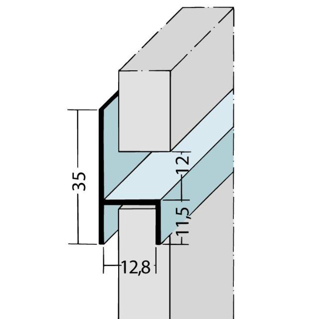 Fugen-h-Profil horizontal Alu EV1 9089