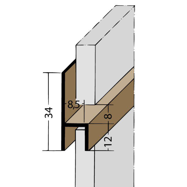 Fugen-h-Profil horizontal PVC 3535