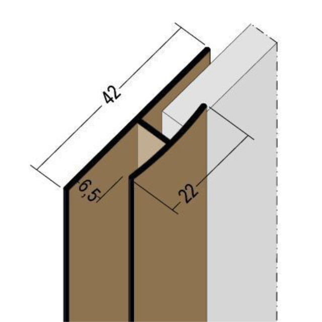 Fugenprofil vertikal Doppel-T-Profil PVC 3558