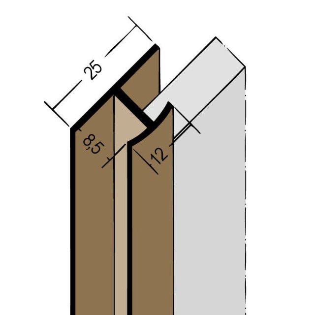 Fugenprofil vertikal Doppel-T-Profil PVC 3546