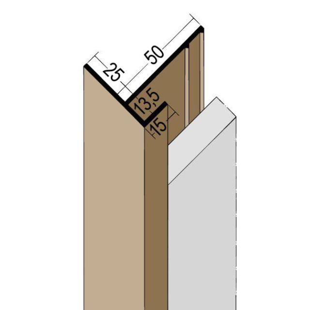 Anschlussprofil mit Schnittkantenüberdeckung PVC 3560