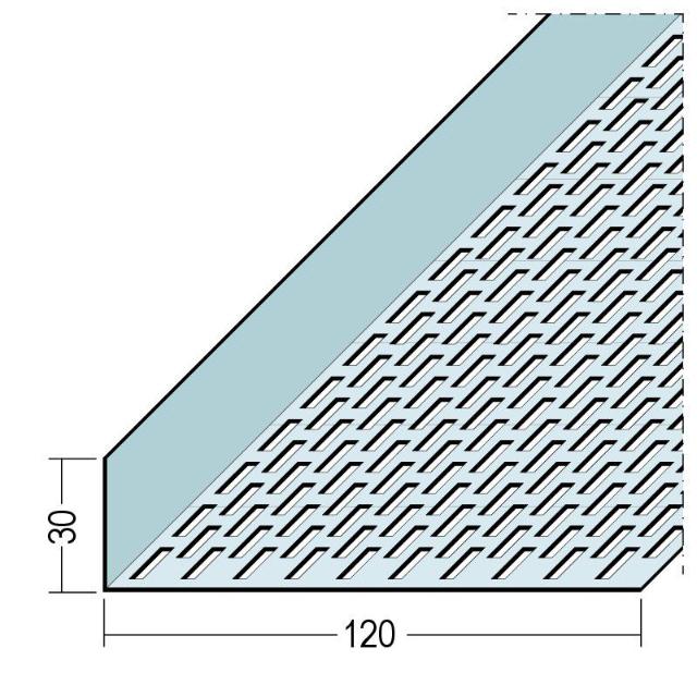 Lüftungswinkel einseitige Rechtecklochung Alu 9334