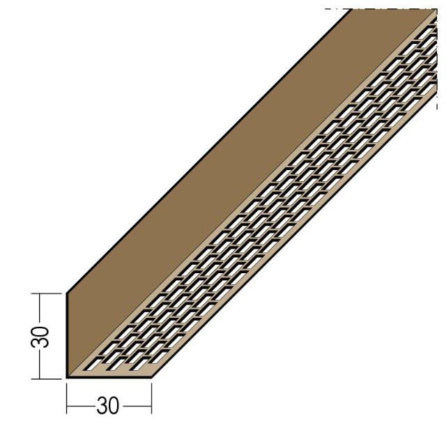 Lüftungswinkel einseitige Rechtecklochung PVC 3612