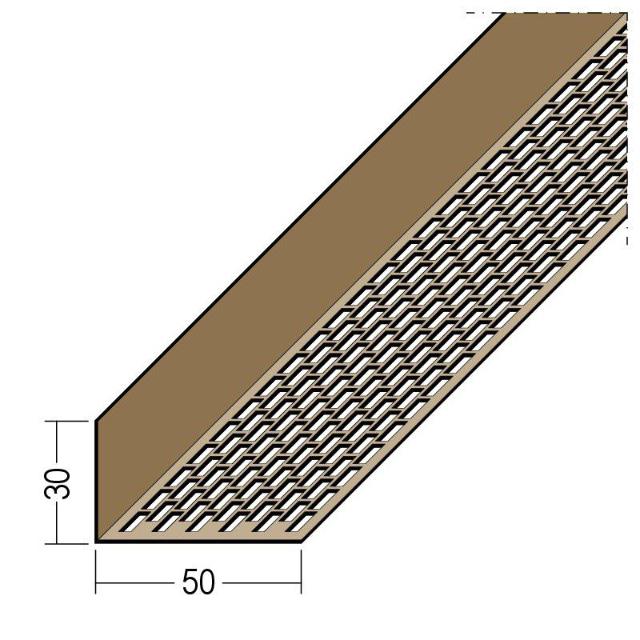 Lüftungswinkel einseitige Rechtecklochung PVC 3610