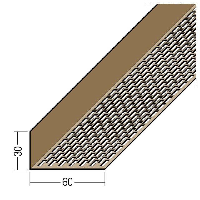 Lüftungswinkel einseitige Rechtecklochung PVC 3611