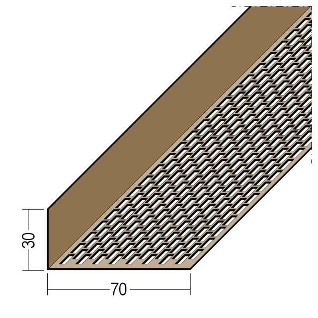 Lüftungswinkel einseitige Rechtecklochung PVC 3613