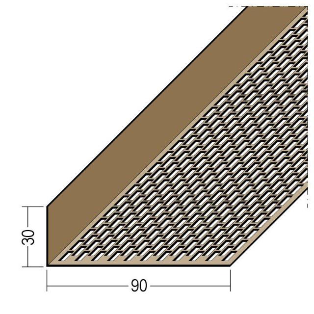 Lüftungswinkel einseitige Rechtecklochung PVC 3617