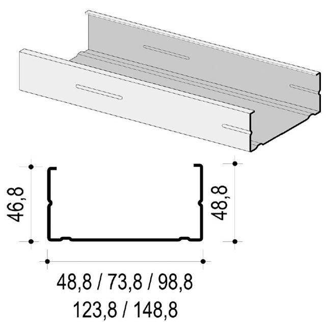 CW-Profil 100 x 50 x 0,7 mm