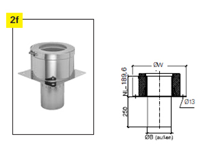 Grundplatte für Kaminverlängerung