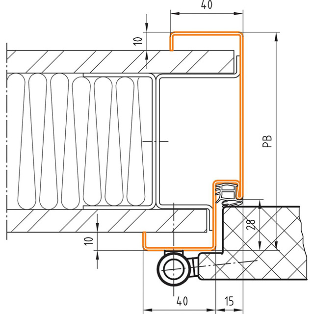 Profil 42 für Ständerwandmontage ohne Bodeneinstand - Profilbreite 95 - 120
