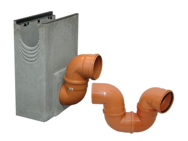 Geruchsverschluss aus PVC-Kanalbögen DN 150/87°