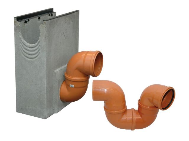 Geruchsverschluss aus PVC-Kanalbögen DN 200/87°
