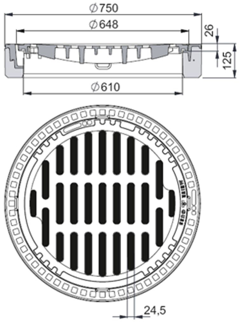 Rahmen: Beton-Guss | Rost: Gusseisen | Klasse B 125