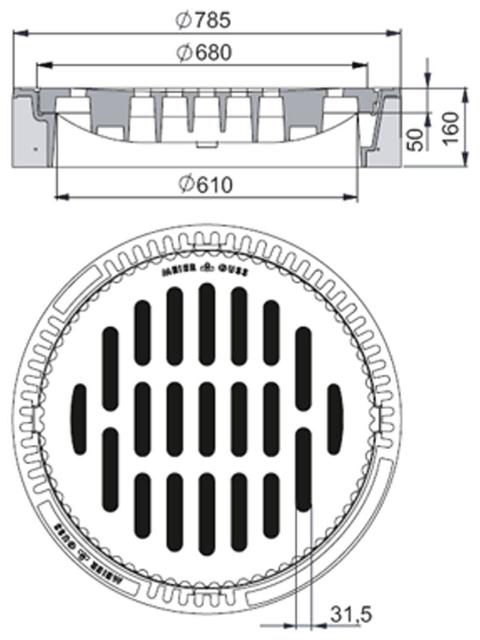 Rahmen: Beton-Guss | Rost: Gusseisen | Klasse C 250