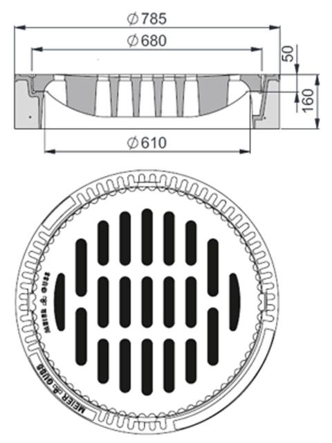Rahmen: Beton-Guss | Rost: Gusseisen | Klasse D 400