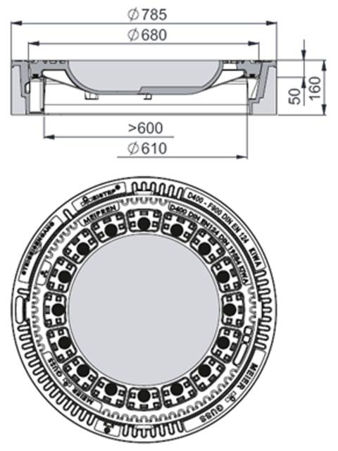 Rahmen: Beton-Guss | Deckel: Beton-Guss