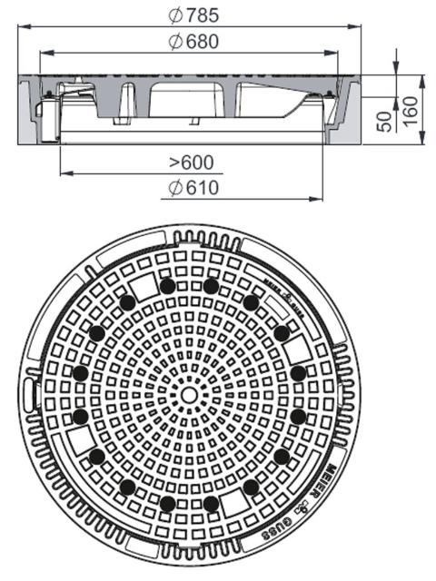 Rahmen: Beton-Guss | Deckel: Gusseisen