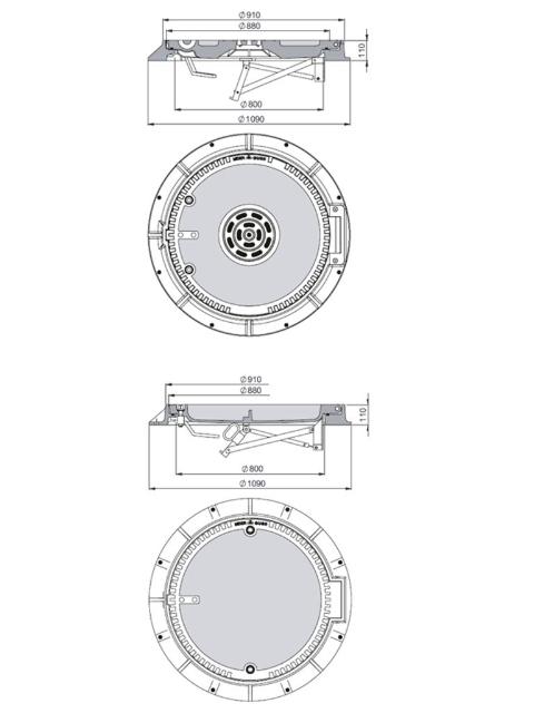 Rahmen: Gusseisen mit Flansch   Deckel: Beton-Guss System BUDALOCK®