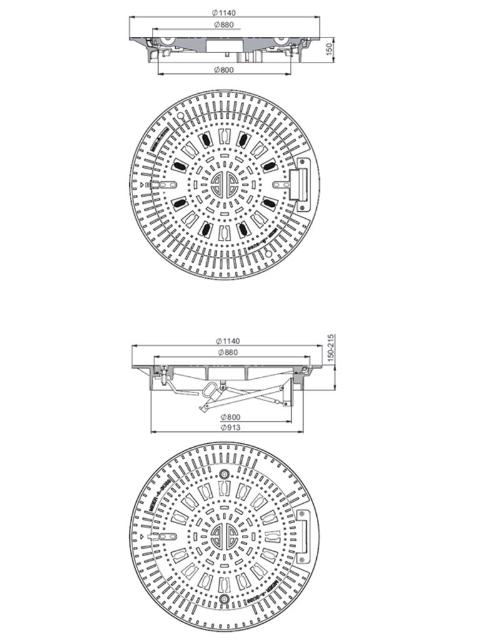 Rahmen: Gusseisen selbstnivellierend   Deckel: Gusseisen System BUDALOCK®
