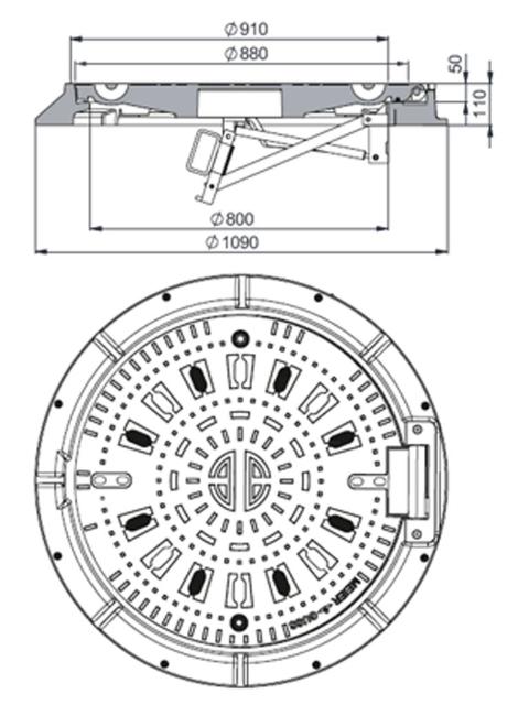 Rahmen: Gusseisen mit Flansch   Deckel: Gusseisen System BUDALOCK®