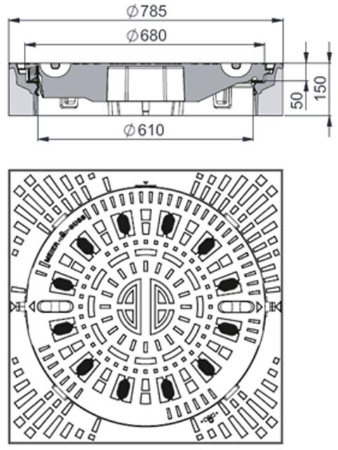 Rahmen: Beton-Guss | Deckel: Gusseisen System BUDATOP® mit kraftschlüssiger Federarretierung