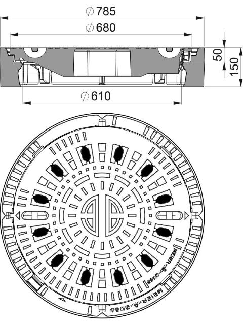 Rahmen: Gusseisen | Deckel: Gusseisen System BUDATOP® mit kraftschlüssiger Federarretierung