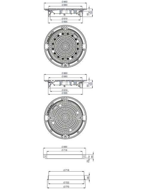 Rahmen: Gusseisen selbstnivellierend   Deckel: Gusseisen