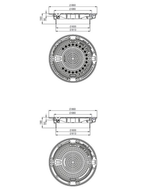 Rahmen: Gusseisen selbstnivellierend   Deckel: Gusseisen System MEITOP®-S