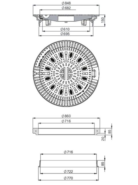 Rahmen: Gusseisen selbstnivellierend   Deckel: Gusseisen System BUDALOCK®-SN