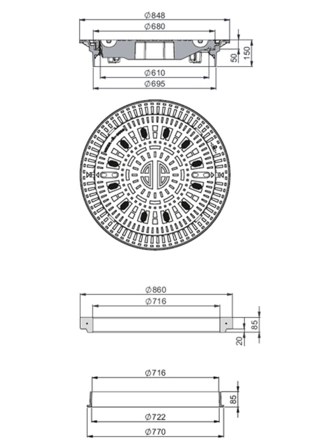 Rahmen: Gusseisen selbstnivellierend   Deckel: Gusseisen System BUDATOP®-SN