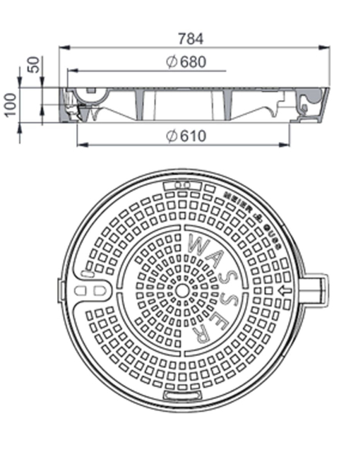 Rahmen: Gusseisen   Deckel: Gusseisen – System MEITOP®-H