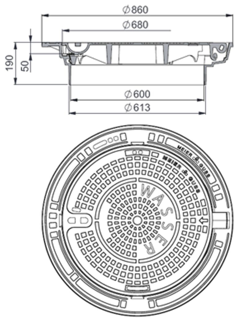 Rahmen: Gusseisen selbstnivellierend   Deckel: Gusseisen System – MEITOP®-S