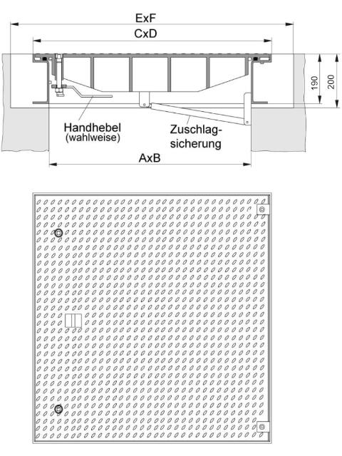 Rahmen: Stahl, feuerverzinkt   Deckel: Stahl, feuerverzinkt