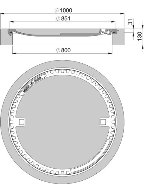 Rahmen: Beton-Guss| Deckel: Beton-Guss