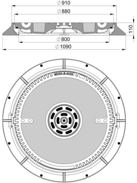 Rahmen: Gusseisen | Deckel: Beton-Guss