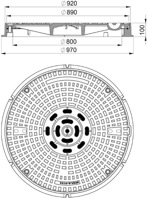 Rahmen: Gusseisen mit Flansch | Deckel: Gusseisen