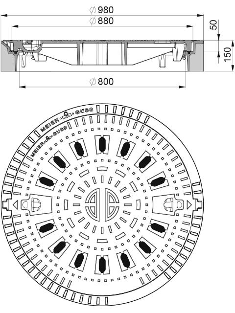 Rahmen: Beton-Guss   Deckel: Gusseisen System BUDATOP® mit Federarretierung