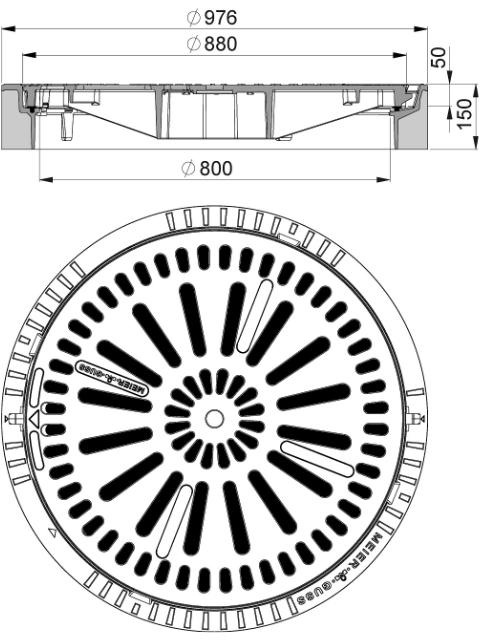 Rahmen: Beton-Guss   Rost: Gusseisen System BUDATOP® mit Federarretierung