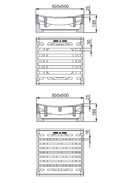 Rahmen: Beton-Guss   Rost: Gusseisen Klasse C 250