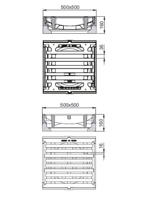 Rahmen: Beton-Guss   Rost: Gusseisen Klasse D 400