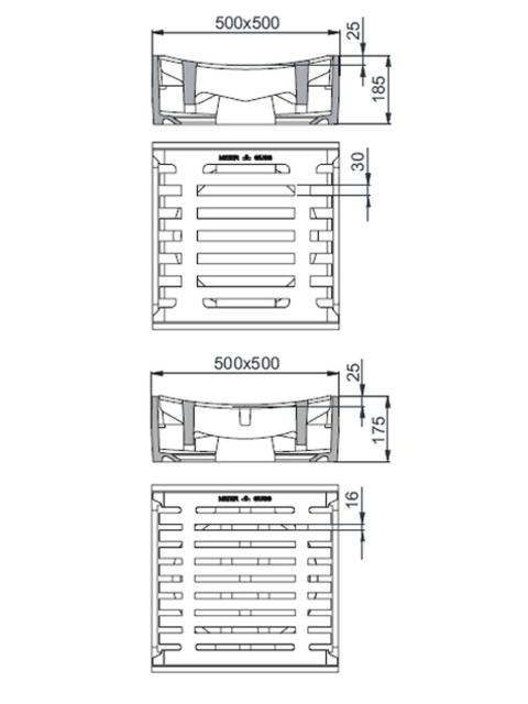 Rahmen: Gusseisen   Rost: Gusseisen Klasse D 400