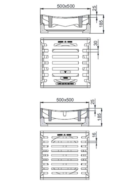 Rahmen: Beton-Guss   Rost: Gusseisen